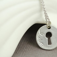Key To My Heart Necklace : Delicate Silver Plated Necklace with Key Charm, Matte, Silver, ArtisanTree