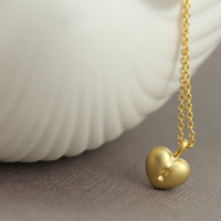 Key To My Heart Necklace : Delicate Gold Plated Necklace with Heart Charm, ArtisanTree