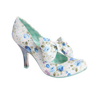 Blue Tea & Cakes Floral Heels - Unique Vintage