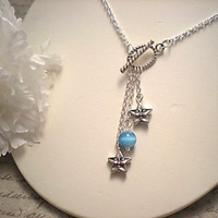 Blue Cats Eye, Silver Stars and Silver Toggle Necklace | NiteDreamerDesigns - Jewelry on ArtFire