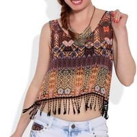 Tribal Print Crop Tank Top with Crochet Fringe Hem