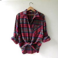Vintage colorful boyfriend flannel / Grunge Shirt