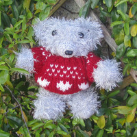 Handknitted bear  Knitted Minature bear Knitted by yarnawayknits