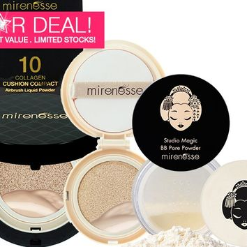 *SP NEW 10 Collagen Cushion Compact Airbrush Liquid Power Foundation SPF25 PA++ + REFILL & BB PORE POWDER - Mirenesse