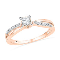 1/4 CT. T.W. Diamond Split Shank Promise Ring in 10K Rose Gold - View All Rings - Zales