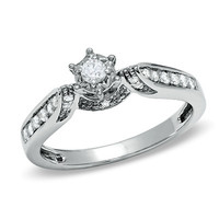 1/5 CT. T.W. Diamond Channel-Set Promise Ring in 10K White Gold - View All Rings - Zales