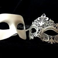 Couple Masquerade Mask Pair for Men and Women Laser Cut Metal Masquerade Mask