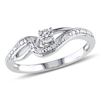 1/7 CT. T.W. Diamond Split Shank Promise Ring in 10K White Gold - View All Rings - Zales