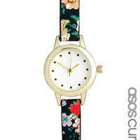ASOS CURVE Mini Floral Strap Watch