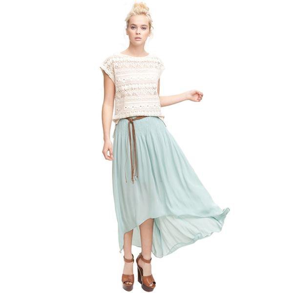 Bqueen Crinkled Asymmetric Maxi Skirt Blue BY222L - Designer Shoes|Bqueenshoes.com