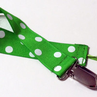Green White Dots Ribbon Pacifier Clip Pacifier Holder