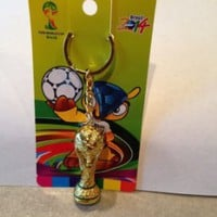 FIFA 2014 Brazil WORLD CUP SOCCER MINI TROPHY KEYCHAIN