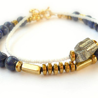 Lapis Lazuli Stone Bracelet with Brass and Hematite