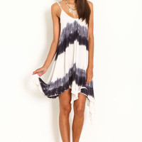 DIP DYE GAUZE SCOOPBACK DRESS