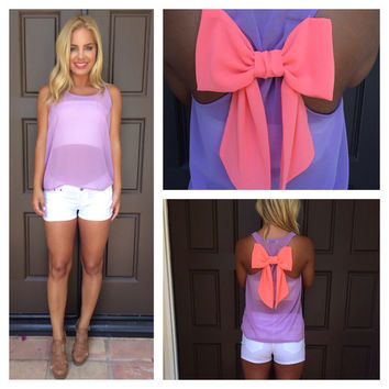 Lilac & Neon Coral Bow Top
