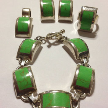 """Taxco Gaspeite Bracelet 41.4 Grams Sterling Silver 8"""" Green RARE Stamped 925 Mexico Vintage Jewelry Southwestern Tribal Gift Mexican 60s"""