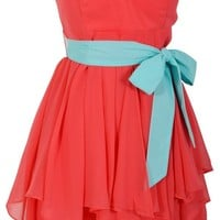 Ruffled Edges Chiffon Designer Dress in Coral/Mint - WHAT'S NEW