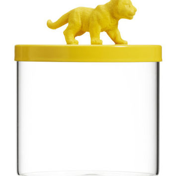 Glass Jar with Lion Lid