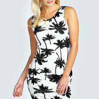 Tia Palm Print Bodycon Dress