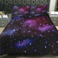 Galaxy Bedding Set Two Sides printing galaxy quilt cover galaxy bed sheets with two matching galaxy pillow covers @anlye