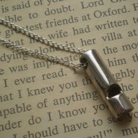 Whistle necklace in silver on long chain free by littlepancakes