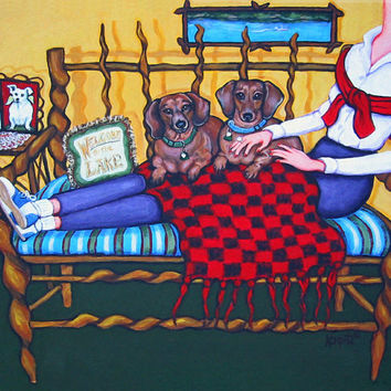 Whimsical Dachsund Woman Lake Folk Art Glicee Print 8x10 16x20 from original painting - Meanwhile at the Lake - Korpita ebsq