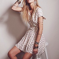 Free People Womens Barbara Mini Dress - IVORY COMBO,