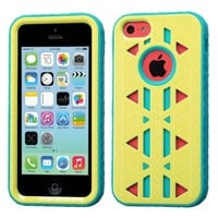 Thousand Eight(TM) APPLE IPHONE 5C Aztec Armor Hybrid Phone Protector Cover + [FREE LCD Screen Protector Shield(Ultra Clear)+Touch Screen Stylus] (Aztec Baby Yellow/Tropical Teal)