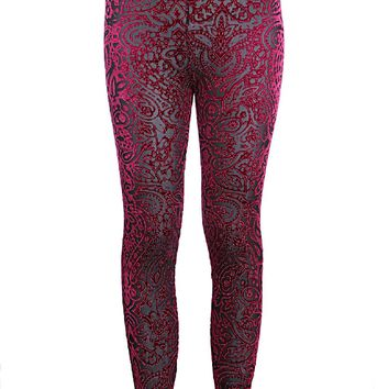 Pretty Attitude Women's Bordeaux Velvet Lace Leggings