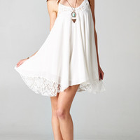 SPAGHETTI STRAP BABYDOLL LACE DRESS - WHITE