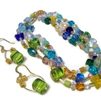 Bracelet and Earrings Set Butterflies 3 Strands Green Cubes Spring $46.