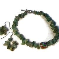 Bracelet and Earrings Set Aventurine Soft Moss Green $39.