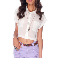 Cut Short Button Down Shirt in Ivory :: tobi