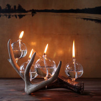 Modern Rustic Antler Oil Lamp by UrbanWoodGoods on Etsy