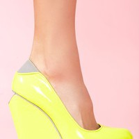Agnes Platform Wedge - Neon Yellow in Shoes at Nasty Gal