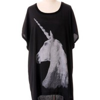 Unicorn Print Tail Top in Black - New Arrivals - Retro, Indie and Unique Fashion