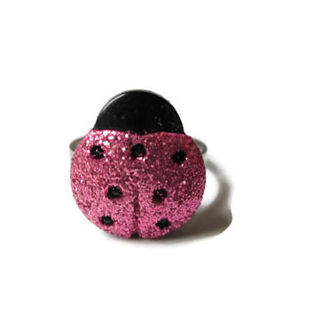Pink Ladybug Ring, Garden Bug Jewelry, Spring Fashion, Adjustable