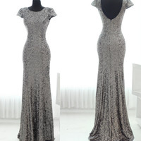 Mermaid Cap Sleeves Backless Grey Sequins Long Prom Dress 2014 with Small Train