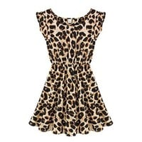 ZLYC Women's Leopard Print Sleeveless Skater Dress