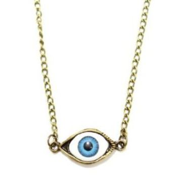 BUYINHOUSE Third Eye Chakra Necklace Gothic Eyeball Occult NC21 Gold Tone Punk Vintage Choker Pendant Fashion