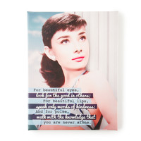Audrey Hepburn For Beautiful Eyes Wall Canvas