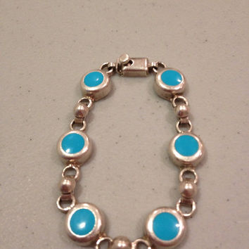 """Taxco Turquoise Bracelet 7"""" Sterling Silver Blue Round Stamped 925 Mexico 24 Grams Vintage Jewelry Southwestern Tribal Stone Gift Mexican"""