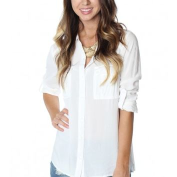 Double Pocket Blouse White