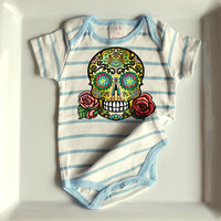 Tattoo Flash Sugar Skull Baby Clothes. 12 or 24 months. Day of the Dead Bodysuit Creeper. Infant Boy Rockabilly. Toddler Skull Rose Cross