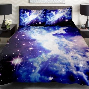 Galaxy Quilt Cover Galaxy Duvet Cover Galaxy Sheets Space Sheets Outer Space Bedding Set Bedspread with 2 Matching Pillow Covers (TWIN)