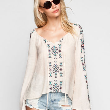 Blu Pepper Embroidered Womens Top Ivory  In Sizes