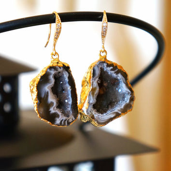 Glimmering Starry Night Geode Druzy Earring Black - Agate Geode - Geode Earrings - Geode Jewelry - Druzy Earrings - Druzy