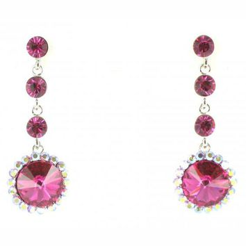 Helen's Heart Style X001831 Fuchsia Pink Prom Earrings