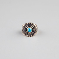Full Tilt Turquoise Stone Oval Ring Gold