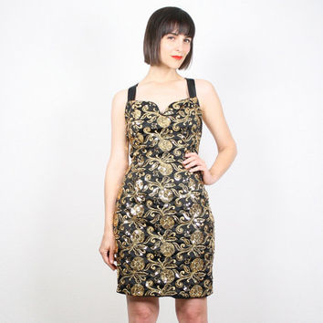 Vintage Gold Dress 1980s 80s Sequin Dress Glam Holiday Jessica McClintock Mini Dress Party Dress Black Gold Glam Backless Dress 8 M Medium